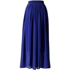 Blue Pleated Maxi Skirt ($36) ❤ liked on Polyvore featuring skirts, bottoms, faldas, saia longa, saias, floor length skirt, polka dot skirt, travel skirt, long blue skirt and long skirts