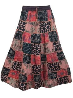Boho Gypsy Skirt, Summer Fashion Vintage Patchwork Long Maxi Skirts, Gift for Her