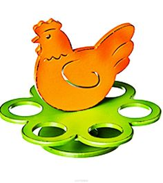 Подставка под яйца Home Queen Курочка, цвет: зеленый, оранжевый, 6 ячеек