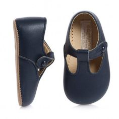 Early Days Navy Blue Leather Pre-Walker Shoes | CHILDRENSALON