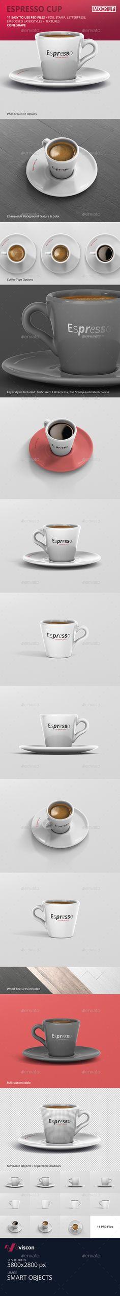 Espresso Cup Mockup - Cone Shape by visconbiz High resolution Cone Shaped Espresso Cup MockupFully customizable espresso / coffee cup mockup to present your design in seconds.