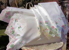 Rosebud Vintage Style Hankie Handkerchief Pillow Cases