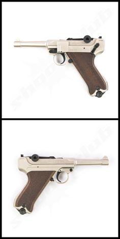 Luger ME P08 Schreckschusspistole nickel 9mm P.A.K. #schreckschuss www.shoot-club.de