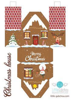Gingerbread house printable. Le calendrier de l'avent astucieux en petites maisons. Gingerbread house printable.