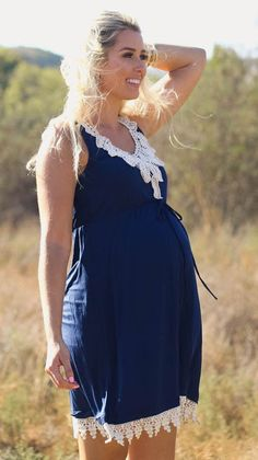 Finding the perfect outfit to transition between seasons is difficult without this crochet accent maternity dress. Dark, fall hues with a casual summer style give you the perfect look day or night to look and feel amazing in. Finish off this effortlessly Cute Maternity Dresses, Stylish Maternity, Maternity Wear, Maternity Fashion, Maternity Style, Pregnancy Wardrobe, Pregnancy Outfits, Pregnancy Fashion, Baby Bump Style