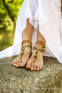 Boho barefoot sandals Beach wedding barefoot sandals Gypsy bottomless sandals Yoga foot jewelry Hippie footless sandles Bohemian anklets by ElvishThings