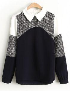 Blusa solapa combinada blanco manga larga-Negro EUR€24.42