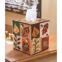 Mary Maxim - Fall Foliage Tissue Box Cover