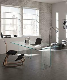 Glass table BACCO by Tonelli Design | #Design M.U. (1987) #glass #work #office @Tonelli Design