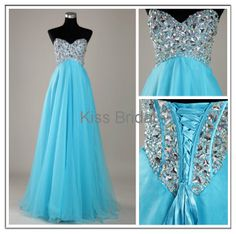 Sky blue tulle with crystal beads lace up back by kissbridal, $137.00. This dress is totally calling my name!