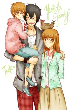 Yoshida Family- Haru and his wife, Shizuku and their kid with Nagoya the rooster and chickens from My Little Monster