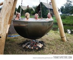 Rustic hot tub... If I tried to use something like this, I'm pretty sure it would result in injury....