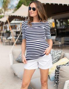 Damen Polo Shirt Gestreift Maritime Look Jacht Boot