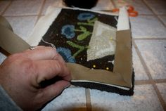 I like this method of adding the twill tape after the rug is finished. Primitives by the light of the moon: How I Bind A Hooked Rug