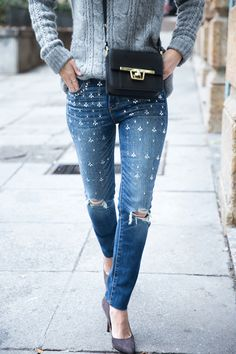 These embellished jeans from Abercrombie are not only cute, they are on sale: $38.50, down from $128.