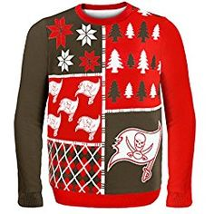 NFL Tampa Bay Buccaneers Busy Block Ugly Sweater, X-Large, Red