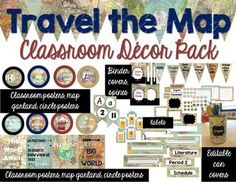 Looking for a travel theme dcor for your middle school or secondary classroom? This bundle includes over 280 pages of {EDITABLE} travel and map themed resources.Download the preview for a sample look of each item included.