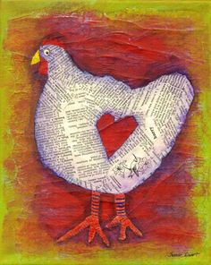 This little hen is so sweet and happy. She wears her heart on her... side, for all to see. The an archival print is from an original collage painting with made with acrylics, old dictionary pages and delicate chicken wire paper. Archival mat ready to pop into a frame! 8x10 White archival luster paper(ready to frame) 5x7 Print size signed and numbered delivered to you with love and care, as any hen would want. ©Julene Ewert 2014 Artist Reserves All Rights