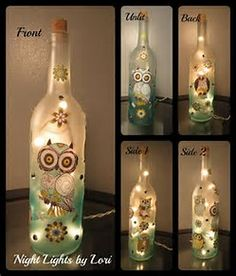 Image result for Wine Bottle Crafts with Lights