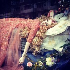 Window display at Harrods in London - Elle Saab dress 2013