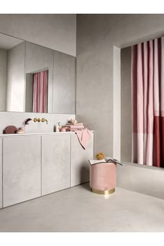 Blush and stone bathroom