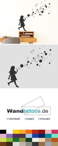 Wandtattoo Mädchen mit Seifenblasen als Idee zur individuellen Wandgestaltung. Einfach Lieblingsfarbe und Größe auswählen. Weitere kreative Anregungen von Wandtattoos.de hier entdecken!