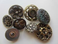 Vintage Buttons - Collector molded metal, pressed and molded, Victorian lot of 8 florals, and assorted deigns, very old (lot mar 91) by pillowtalkswf on Etsy https://www.etsy.com/listing/224743440/vintage-buttons-collector-molded-metal