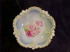 R.S. PRUSSIA DEEP BERRY FOWL GOLD ENCRUSTED W/ ROSES NR