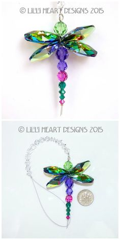 Swarovski Crystal Rare Retired Peacock Colors Dragonfly Suncatcher for Home or Car Charm. Beaded Crafts, Beaded Ornaments, Jewelry Crafts, Snowman Ornaments, Seed Bead Jewelry, Beaded Jewelry, Handmade Jewelry, Jewellery, Earrings Handmade