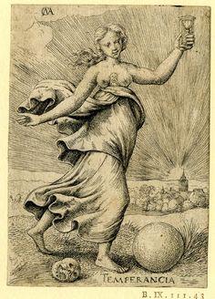 Virtudes Cardinales: Templanza (Temperancia). Cornelis Massijs, 1550 (circa). Grabado sobre papel. Museo Británico.  Jorge García-Jurado.