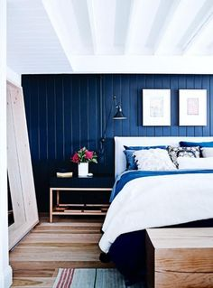 Shop the house: a six-bedroom former bakery turned family home - Vogue Living Blue Bedroom, Cozy Bedroom, Bedroom Wall, Bedroom Decor, Master Bedroom, Vogue Living, Maroon 5, Melbourne House, Ship Lap Walls
