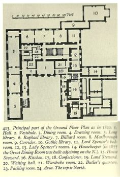 Althorp, ground floor plan, numbered and named