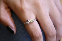 Cluster ring with peridot and alexandrite by rhodajien on Etsy $50