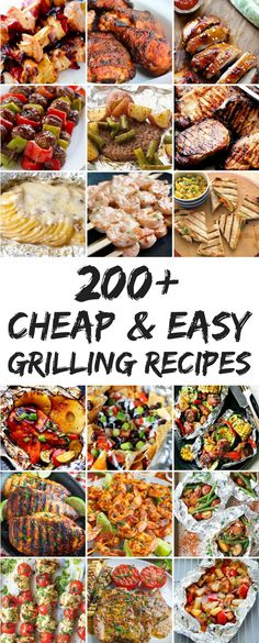 200 Cheap and Easy Grilling Recipes - Learn how to get the most out of your summer grilling season! Summer Grilling Recipes, Barbecue Recipes, Easy Dinner Recipes, Summer Recipes, Healthy Grilling, Grilling Sides, Easy Grill Recipes, Grilled Dinner Ideas, Outdoor Griddle Recipes