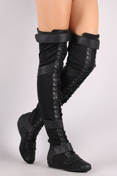 Thigh High Over Knee Lace Up Strappy Flat Boots - Black Flat Boots, Thigh High Boots, High Heel Boots, Knee Boots, Heeled Boots, Cute Shoes, Me Too Shoes, Strappy Flats, Mein Style
