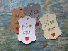 Étiquettes à bijoux, étiquettes à vêtements «Fait avec amour» de la boutique Lamainalacarte sur Etsy