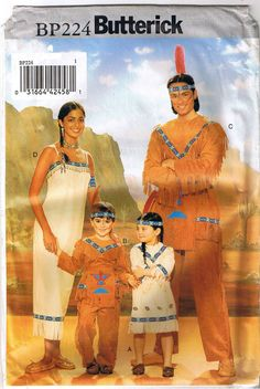 Native American Indian Costume Sewing Pattern Size Kids Childrens Boy Girl 2-6X #Butterick