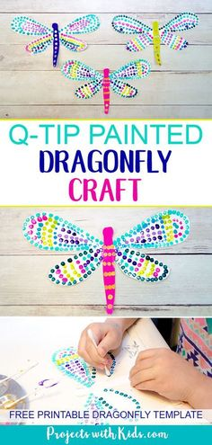 This q-tip painted dragonfly craft is a fun and easy summer activity for kids of all ages. Kids will have fun designing their dragonfly wings, each one will be unique and beautiful. This is a wonderful and relaxing painting project that is also great for Summer Crafts For Kids, Summer Activities For Kids, Summer Kids, Art For Kids, Painting Crafts For Kids, Kids Fun, Time Activities, Craft Activities For Kids, Summer Classes For Kids