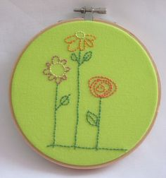 Simple Quilt Block Patterns to Embroider - flowers