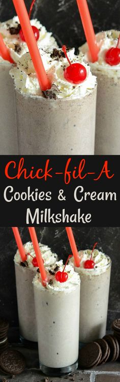 Copycat Chick Fil A Cookies & Cream Milkshake: recreate your favorite Cookies and Cream Milkshake in 5 minutes, with 4 ingredients, using this easy recipe!