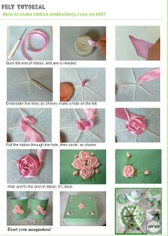 Tutorial- Make ribbon roses on felt?