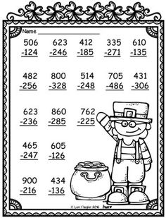FREEBIE- 3 Digit Addition and Subtraction with Regrouping by Lori Flaglor Math Practice Worksheets, Addition And Subtraction Worksheets, Math Subtraction, Math Exercises, Math Sheets, Math Intervention, Second Grade Math, Homeschool Math, Math For Kids