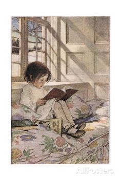 A Girl Reading, from 'A Child's Garden of Verses' by Robert Louis Stevenson, Published 1885 Giclee Print by Jessie Willcox Smith at AllPosters.com
