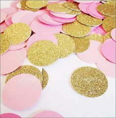 Pink, rose and gold glitter party confetti will add a decorative touch to…