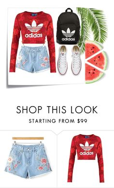 """""""🍉"""" by jordangirl117 ❤ liked on Polyvore featuring Post-It, adidas Originals and Converse"""
