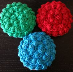 Crocheted scrubby - free pattern http://www.ravelry.com/projects/Melanie702/tawashi-scrubber Made by Melanie702 / Mellrb