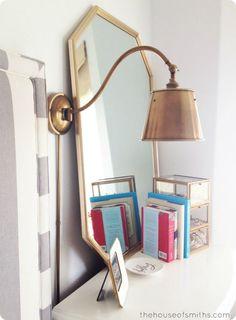 Brass Lighting & an 80's Thrift Store Mirror - Aka: A Master Bedroom Update #houseofsmiths #sconces #brass