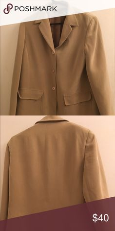 Tan Silk Suit Blazer lined 12 P Tan Silk Suit Blazer lined. A line designed. Front buttons with two front pockets. Jackets & Coats Blazers