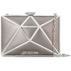 Love Moschino geometric clutch ($330) ❤ liked on Polyvore featuring bags, handbags, clutches, grey, love moschino handbags, love moschino, love moschino purse, grey purse and gray purse