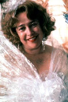 Kathy Bates as Evelyn Couch in Fried Green Tomatoes, dressed in cellophane to attract the attention of her dull husband, Ed.